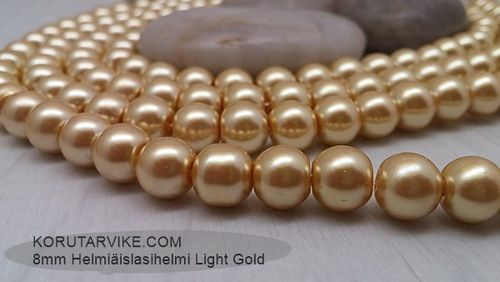 Lasihelmi helmiäinen 8mm Light Gold 70g