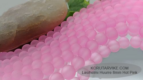 Lasihelmi huurre 8mm Hot Pink 60g