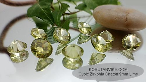 Zirkonia Chaton 9mm Lime 2kpl