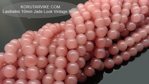 Lasihelmi 10mm Jade Look vintage Rose 40kpl