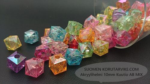 Akryylihelmi 10mm Kuutio AB MIX 40g (n.98kpl)